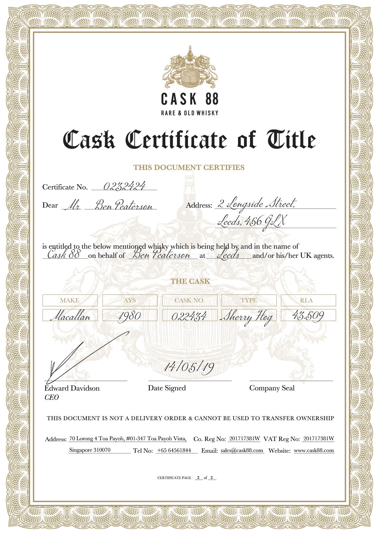 Cask Certificate